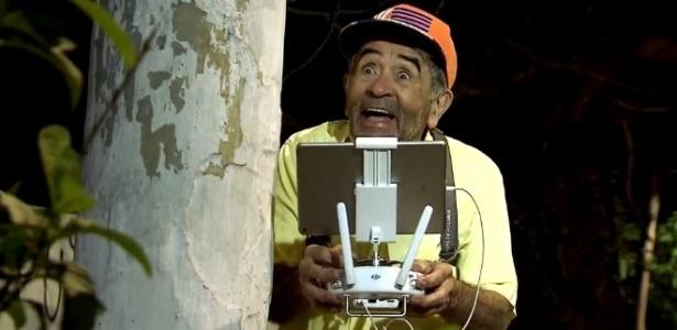 """Ivo Holanda pilota drone em pegadinha do """"Programa Silvio Santos"""" - Reprodução/SBT"""