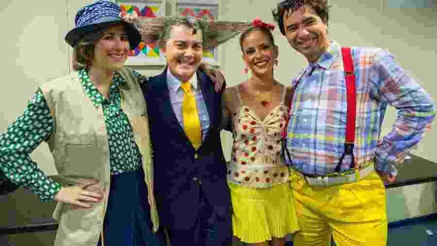 Dani Calabresa, a Catifunda; Kiko Mascarenhas, o Galeão Cumbica; Fernanda de Freitas, a Marina da Glória, e Marco Luque, como Nerso  - Estevam Avellar/Globo