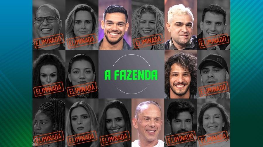 """Os peões que continuam na disputa após a décima primeira roça de """"A Fazenda 10"""" - Montagem/Edu Moraes/Record TV"""