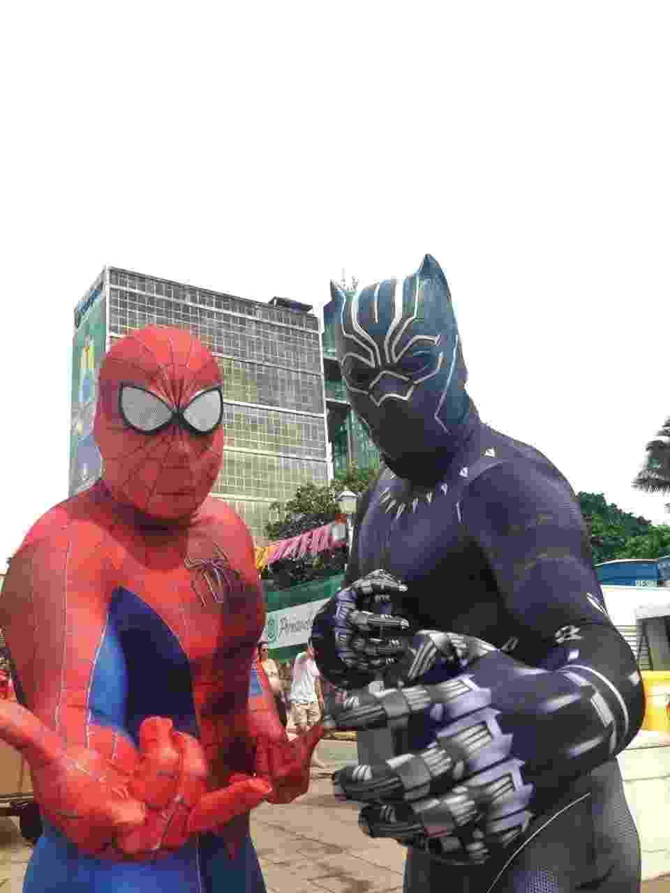 """Fãs foram fantasiados de Homem-Aranha e Pantera Negra para curtir o bloco """"Enquanto Isso na Sala da Justiça"""", no Recife - Alcione Ferreira/UOL"""