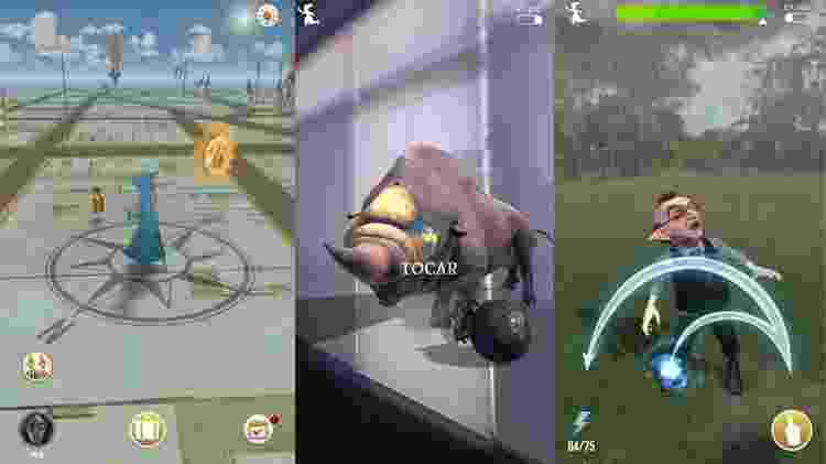 A partir da esquerda: visão do mapa e tela de captura com realidade aumentada ativada e desativada - Reprodução
