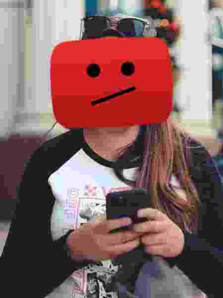 malena triste - montagem com foto de Thay Pires e ícone do YouTube - montagem com foto de Thay Pires e ícone do YouTube