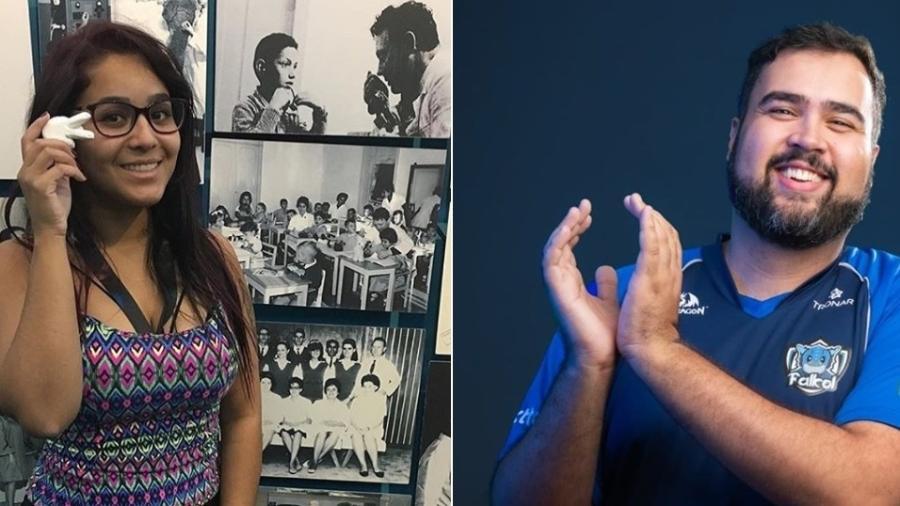 """Intérprete de Libras, Jessyka """"suuhgetsu"""", à esquerda, está revolucionando o setor de games. André """"Nerdsurdo"""" criou uma liga de esporte eletrônico para deficientes auditivos. - Montagem/Falkol"""