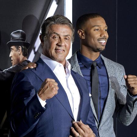 """Os atores Sylvester Stallone e Michael B. Jordan durante a pré-estreia do filme """"Creed"""" em Los Angeles, em 2015 - Kevork Djansezian/Reuters"""