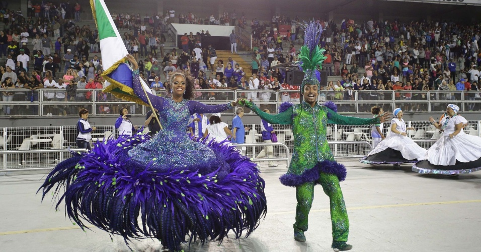 17.jan.2016 - A escola de samba Unidos de Vila Maria fez ensaio técnico na noite de sábado (16), no Sambódromo do Anhembi em São Paulo.