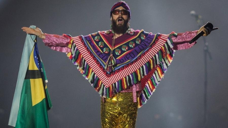 Jared Leto se apresenta com o Thirty Seconds to Mars no palco Mundo do Rock in Rio, em 2017 - Eduardo Anizelli/Folhapress