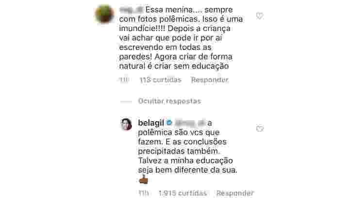 Bela Gil responde críticas de seguidores nas redes sociais - Reprodução/Twitter - Reprodução/Twitter
