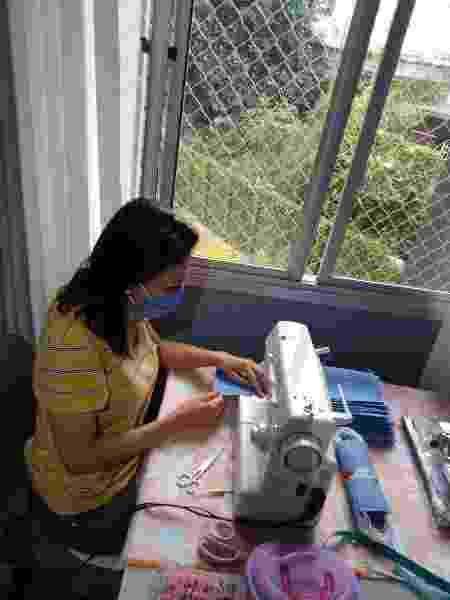 Maria Emília Ferreira costura máscaras contra a Covid-19 na Brasilândia - Arquivo Pessoal - Arquivo Pessoal