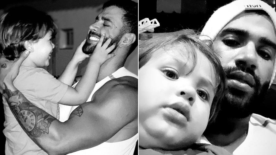 Gusttavo Lima com os filhos, Gabriel e Samuel, em fotos postadas no Instagram - Reprodução/Instagram