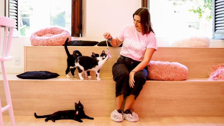 Gato café, no Rio, é uma espaço de uma casa que serve como lar temporário para gatos resgatados e vende cafés e produtos alimentícios personalizados com desenhos de gatos. - divulgação