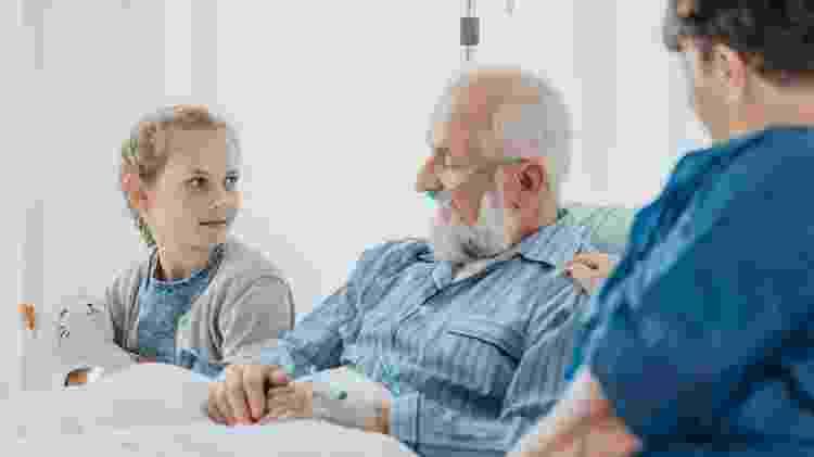 Leito de morte, leito de hospital, família junto com idoso doente no hospital - Getty Images - Getty Images