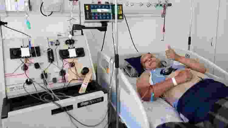 Emerson em fevereiro de 2021, quando fez o autotransplante de medula - Arquivo pessoal - Arquivo pessoal
