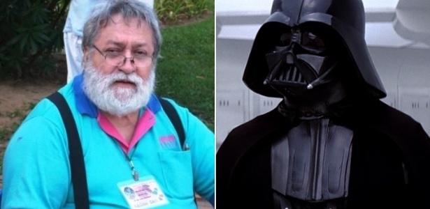 O dublador Silvio Navas (à esquerda) e seu personagem mais famoso, Darth Vader - Montagem/UOL