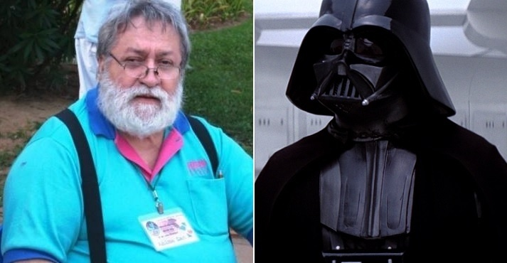 O dublador Silvio Navas (à esquerda) e seu personagem mais famoso, Darth Vader