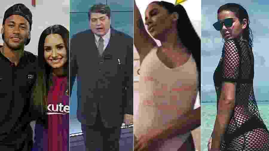 Neymar, Datena, Anitta e Bruna Marquezine soltaram indiretas nas redes sociais - Montagem/UOL