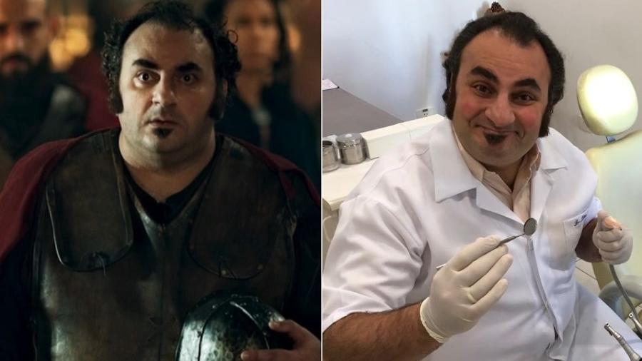 """Liéser Touma como guarda real em """"Deus Salve o Rei"""" e como dentista - Montagem/UOL/Reprodução/TV Globo/Arquivo pessoal"""