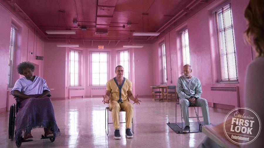 """Samuel L. Jackson, James McAvoy e Bruce Willis em cena de """"Glass"""" - Reprodução/Entertainment Weekly"""