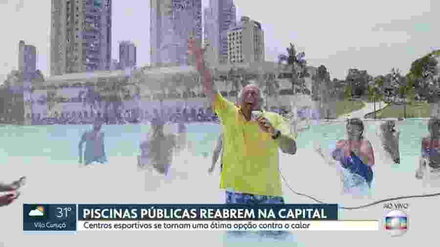 """Márcio Canuto toma banho de piscina durante reportagem ao vivo do """"SP1"""", telejornal local da Globo - Reprodução/TV Globo"""