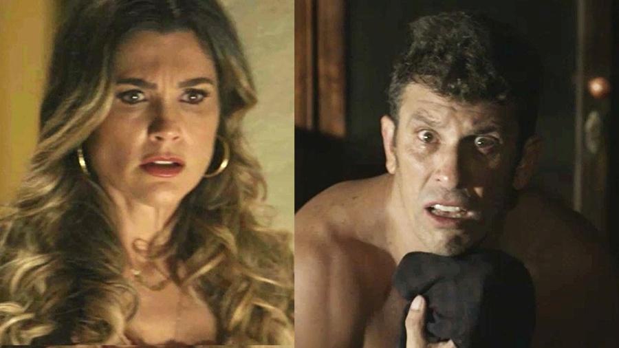 """Rita de Cássia se espanta ao flagrar o marido de calcinha em """"O Sétimo Guardião"""" - Reprodução/Globo"""