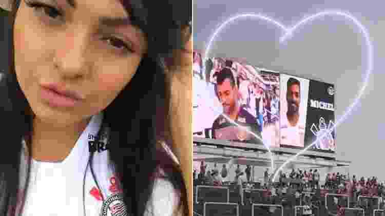 Andressa Soares tieta o noivo, o jogador Michel Macedo, na Arena Corinthians - Montagem/Reprodução/Instagram/mulhermelanciaoficial - Montagem/Reprodução/Instagram/mulhermelanciaoficial