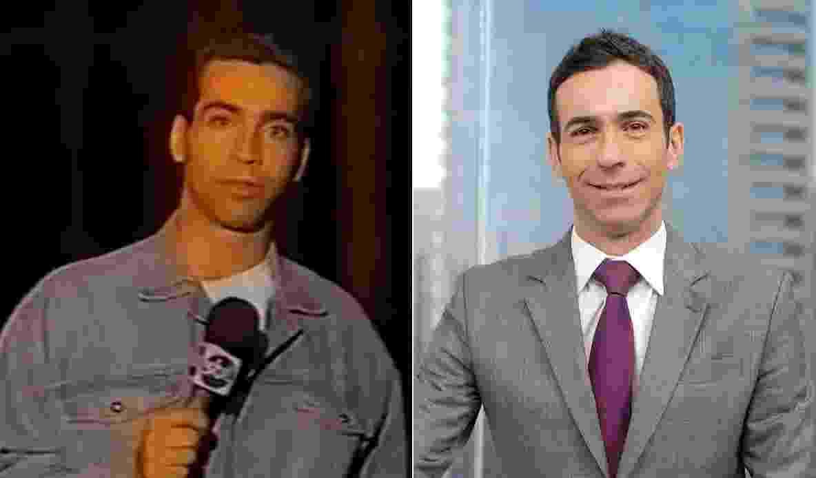 """César Tralli começou no """"Aqui Agora"""", do SBT, como repórter; atualmente apresenta o """"SPTV 1ª Edição"""" na Globo - Montagem/UOL"""