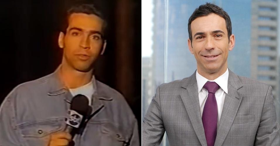 """César Tralli começou no """"Aqui Agora"""", do SBT, como repórter; atualmente apresenta o """"SPTV 1ª Edição"""" na Globo"""