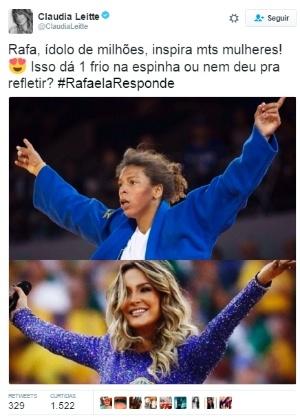 Claudia Leitte publicou uma fotomontagem com a campeã olímpica Rafaela Silva - Reprodução/Twitter ClaudiaLeitte
