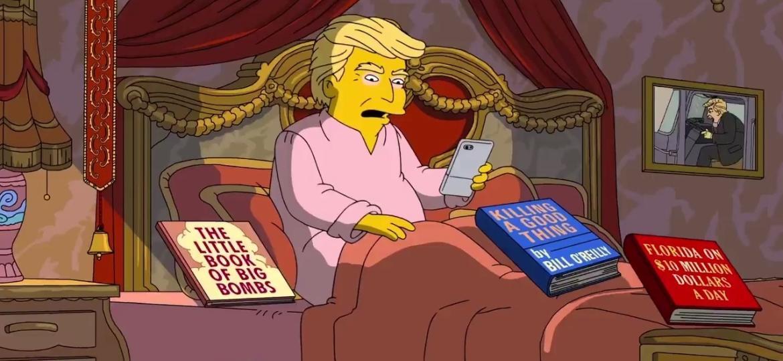 """Cena do episódio de """"Os Simpsons"""" que comemora os 100 dias de Donald Trump na presidência dos Estados Unidos - Reprodução"""