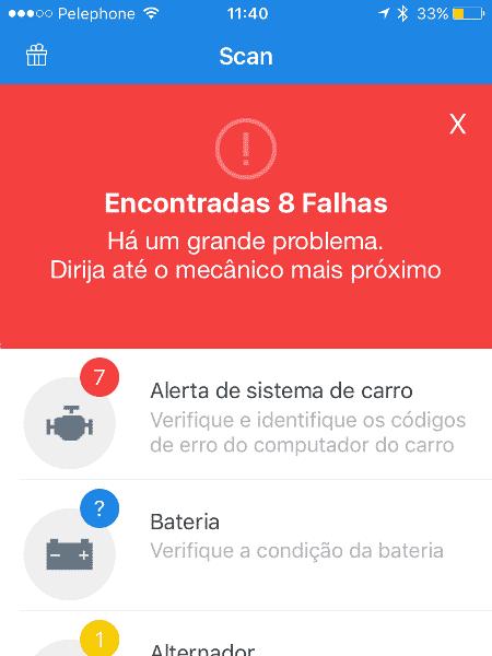 Engie: tela do aplicativo mostra falhas encontradas no carro e indica oficina mais próxima - Reprodução