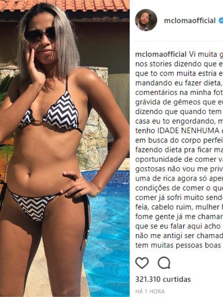 MC Loma usou seu perfil  no Instagram para desabafar sobre reclamações de fãs - Montagem/Instagram