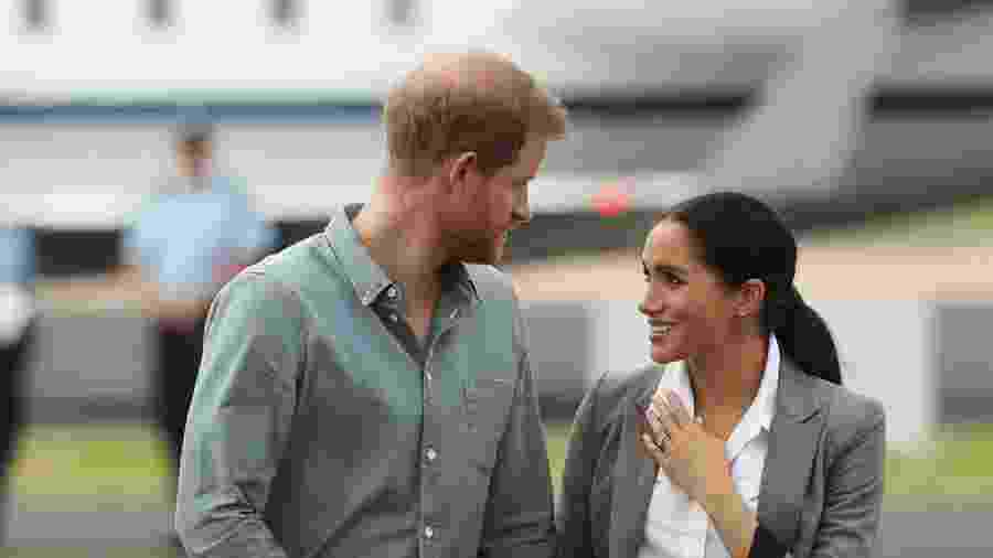 Meghan e Harry durante visita à cidade de Dubbo, na Austrália - Getty Images