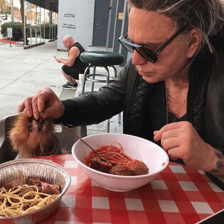Mickey Rourke e seu cachorrinho dividem o macarrão em um passeio - Reprodução/Instagram