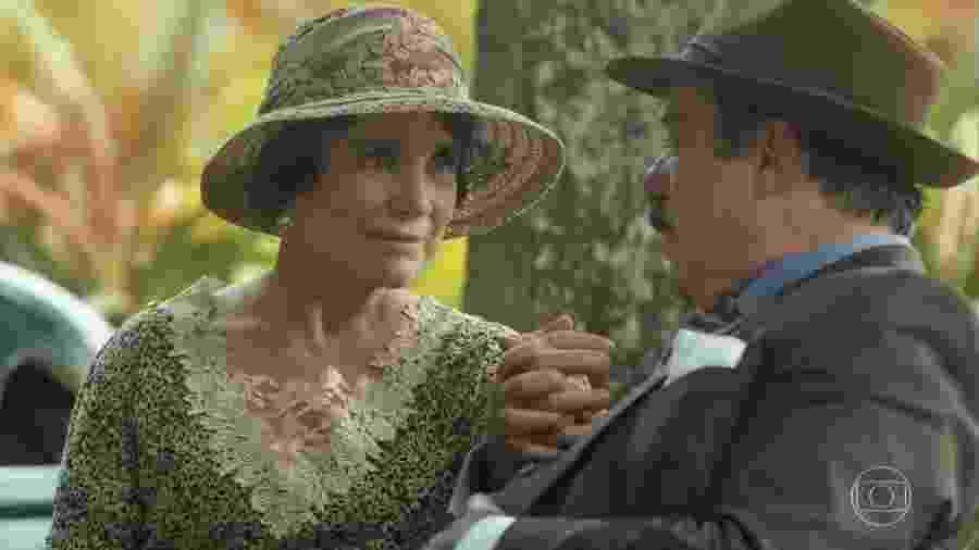 """Regina Duarte (Lucerne) contracena com Tony Ramos (José Augusto) em """"Tempo de Amar"""" (2017), seu último papel na Globo  - Reprodução"""