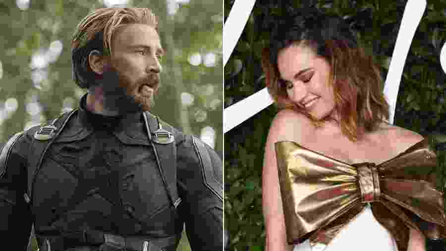 Chris Evans e Lily James etraram por portas diferentes - Divulgação e Getty Images