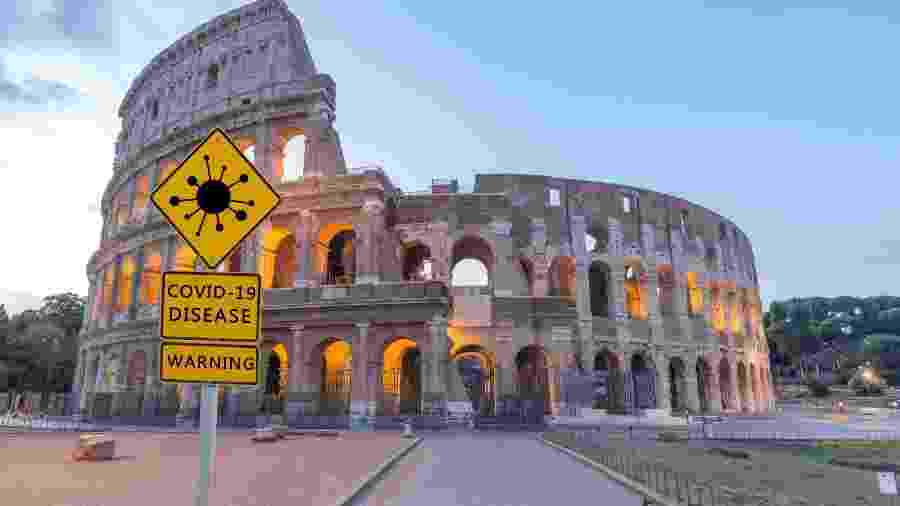 Coliseu: aviso durante a pandemia - Getty Images