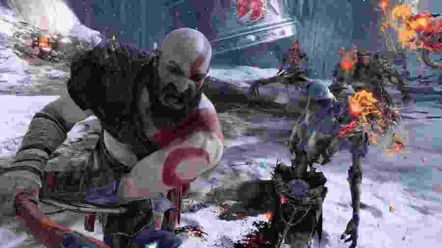 """Como era esperado, """"God of War"""" foi uma das estrelas da conferência da Sony; nele, Kratos e seu filho desbravarão os cenários gelados de Asgard - Reprodução"""