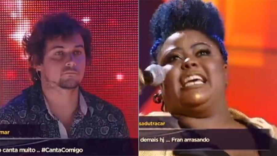 """No """"Canta Comigo"""" desta quarta (29), Felipe Dylon critica Francine Môh, que rebate - Reprodução/Record TV"""