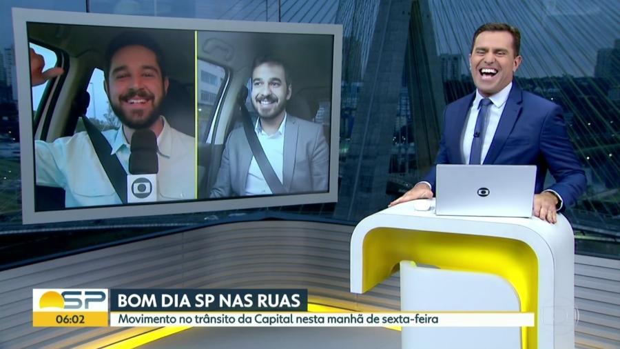 Repórteres Victor Bonini e Guilherme Pimentel, da Globo: semelhança impressiona - Reprodução/TV Globo