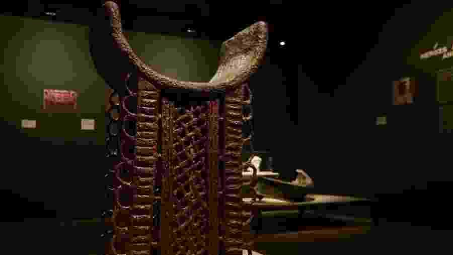 Réplica do Trono de Adandozan, do antigo reino africano de Daomé - Fernando Frazão/Agência Brasil