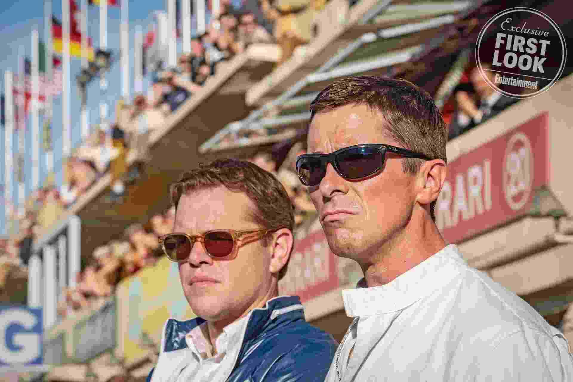 """Matt Damon e Christian Bale em """"Ford v. Ferrari"""" - Divulgação/EW"""