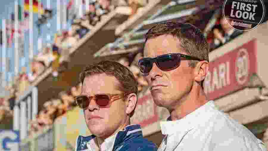 """Matt Damon e Christian Bale em """"Ford vs Ferrari"""" - Divulgação/EW"""