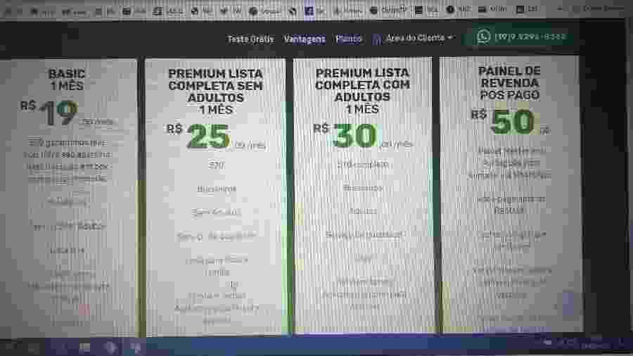 Tela de opções em site que oferece TV paga e streaming ilegamente - Reprodução