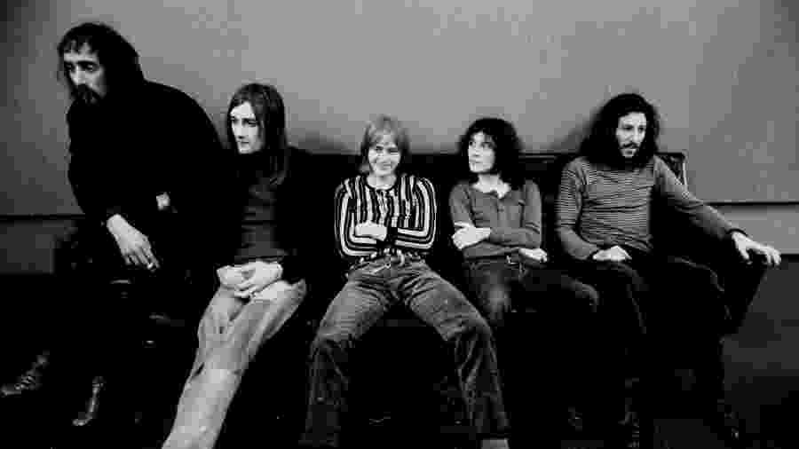A formação original do Fleetwood Mac, da esq. para a dir.: John McvVie, Mick Fleetwood, Danny Kirwan, Jeremy Spencer e Peter Green - Michael Ochs Archives