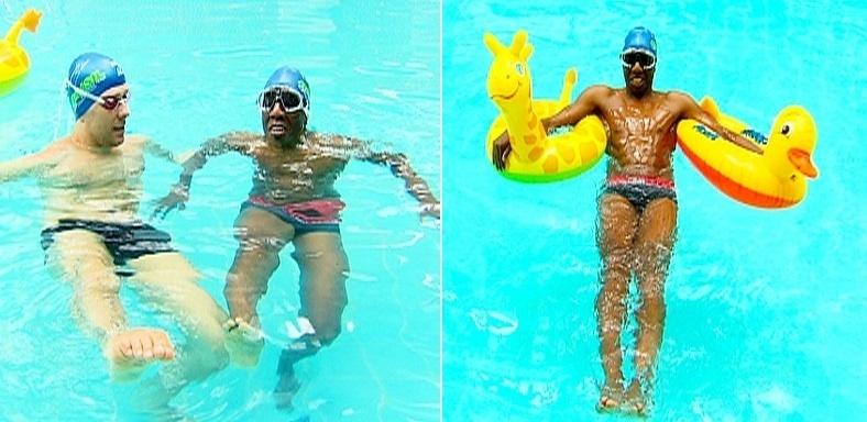 O ex-jogador de futebol Amaral aprende a nadar com Fernando Scherer para a Record