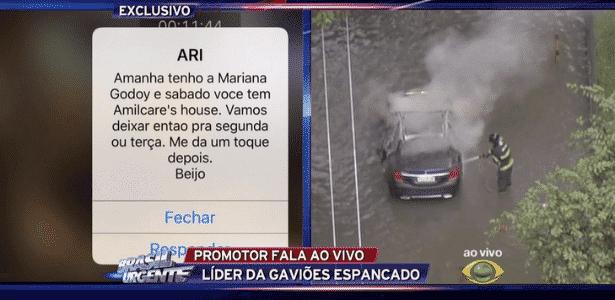 """Datena usa celular no """"Brasil Urgente"""", mas deixa mensagem particular vazar - Reprodução/TV Bandeirantes"""