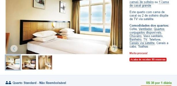 Tela de navegação no site Booking.com - Reprodução/Booking.com