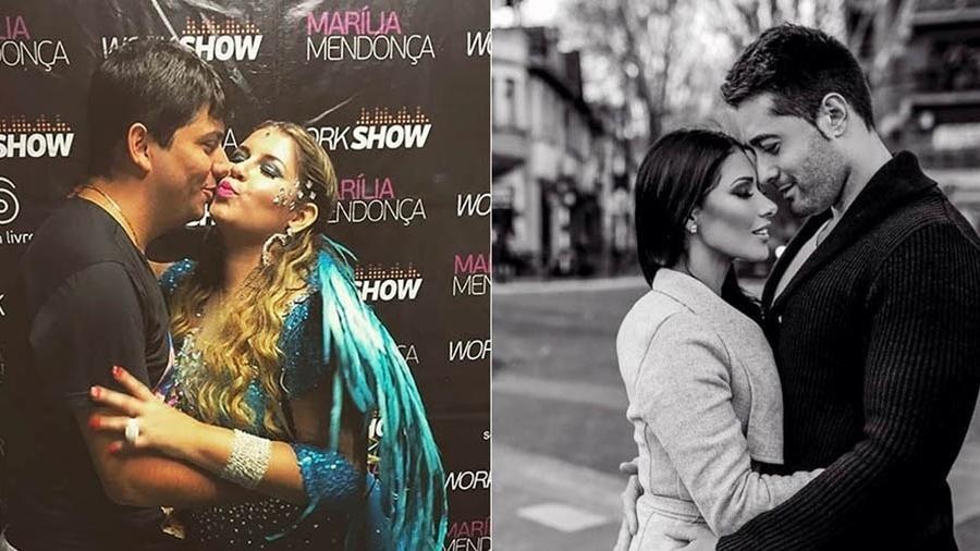 Marília Mendonça com o namorado Yugner Ângelo e Simaria com o marido Vicente  - Reprodução/Instagram