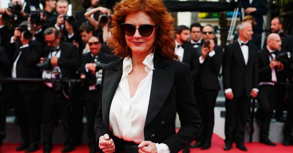 """18.mai.2017 - Susan Sarandon vai à sessão do filme """"Loveless"""" no Festival de Cannes"""