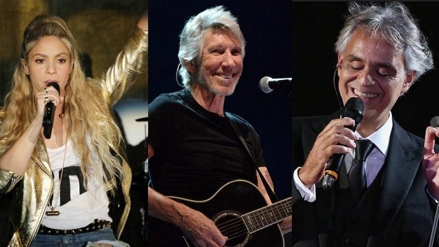 Shakira, Roger Waters e Andrea Bocelli - Getty Images/Montagem