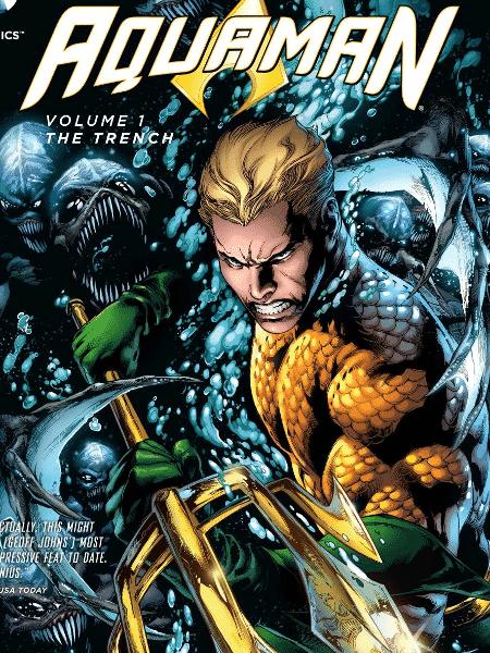 """Capa de """"Aquaman: As Trincheiras"""", com ilustrações de Ivan Reis e Joe Prado - Reprodução - Reprodução"""